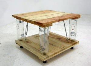 Ten Green Coffee Table – from reclaimed timber and glass bottles