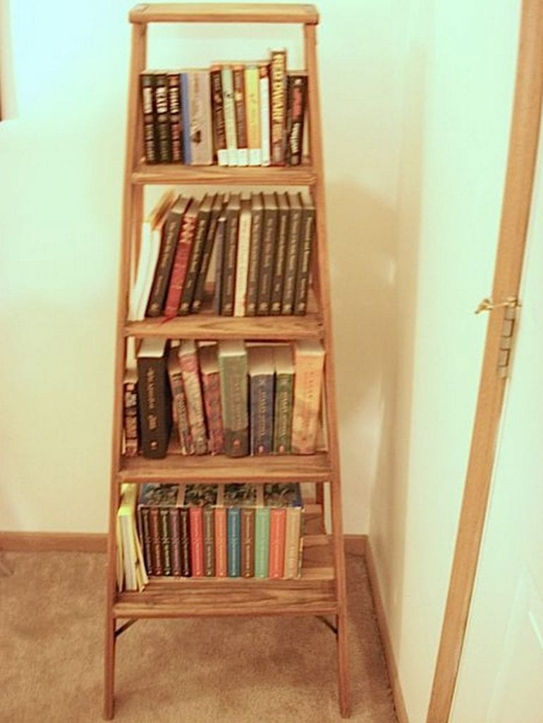 How to turn a ladder into a bookshelf your projects obn for Diy ladder bookcase
