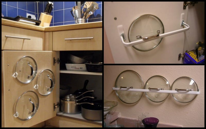 hidden closet door ideas - DIY Pot Lid Organizer