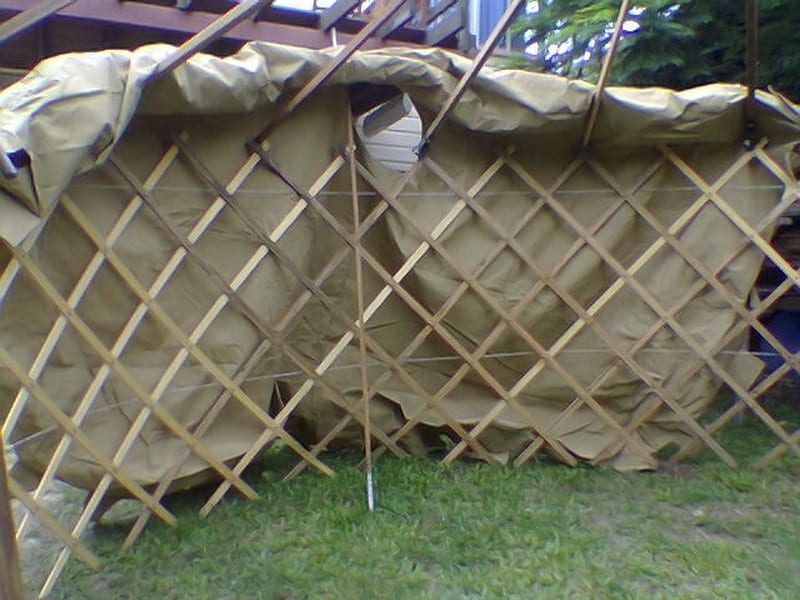 Diy mongolian yurt your projectsobn get a tarp or large black plastic dropsheet for your floor you wont regret it cut a circle about 34 1 200 300mm larger all round than your tent solutioingenieria Image collections