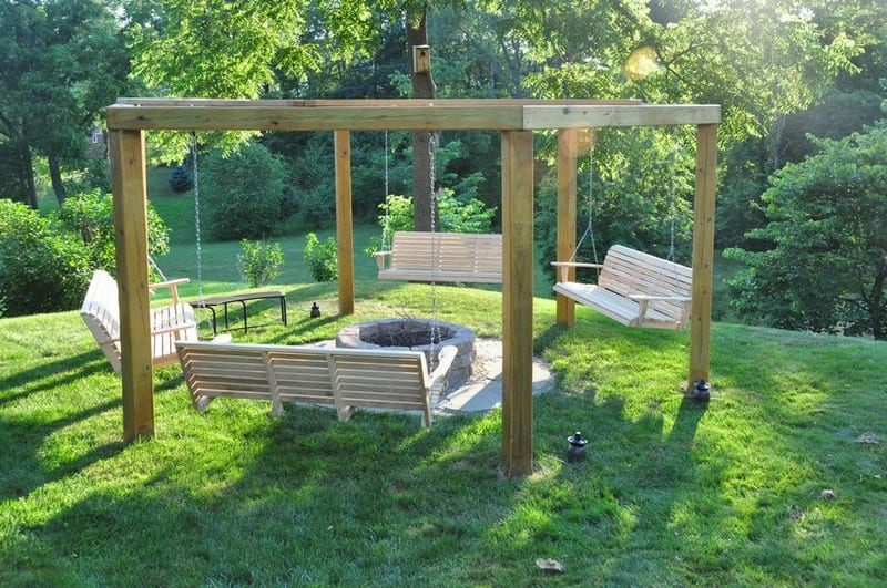Build your own fire pit swing set your projects obn for T shaped swing set