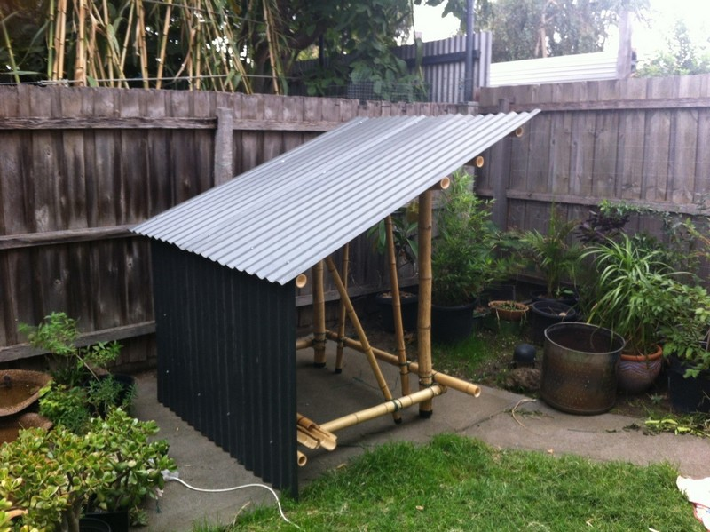 Corrugated colourbond roofing sheet fixed to the frame using J-bolts
