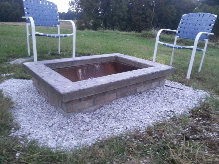 The Completed Stone Fire Pit Project: DIY Fire Pit With Custom Cap Stone