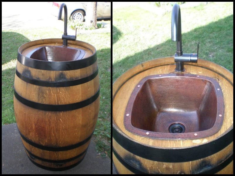 DIY Wine Barrel Outdoor Sink