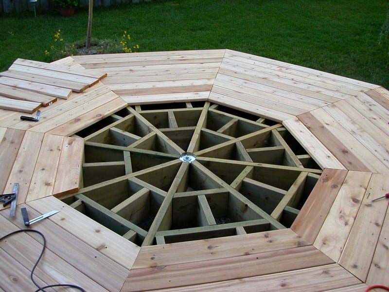 How to build an octagonal deck your projects obn for Octagon deck plans free