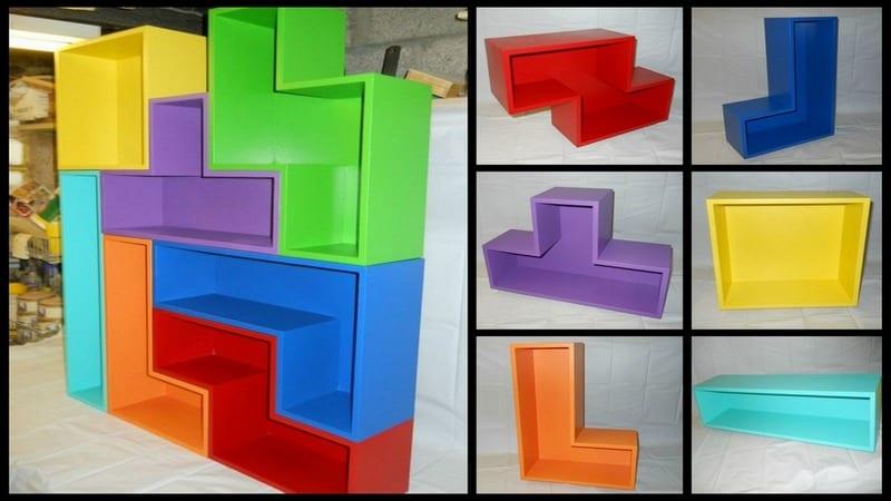 Diy tetris bookshelves for Tetris bookshelf