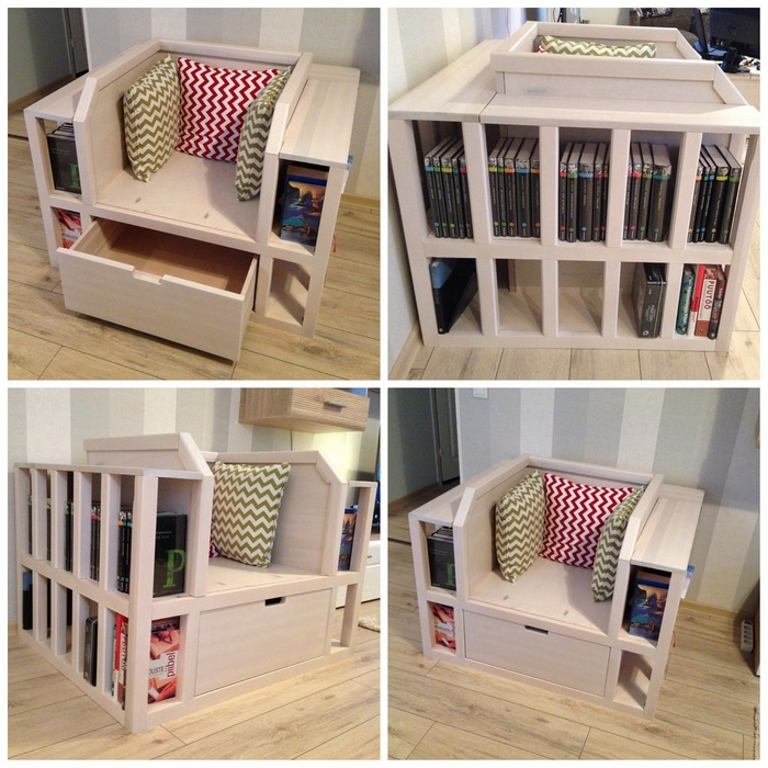Attractive DIY Bookshelf Chair Awesome Design