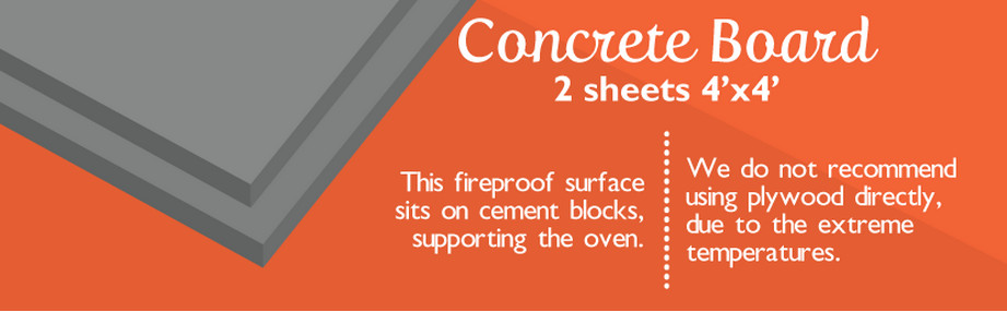 Compressed cement sheeting forms the floor of the oven.