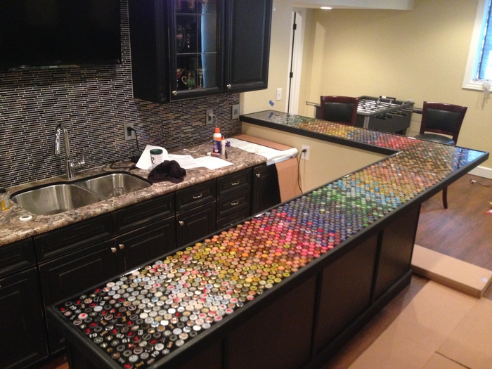 Build an awesome custom bottle cap bar top