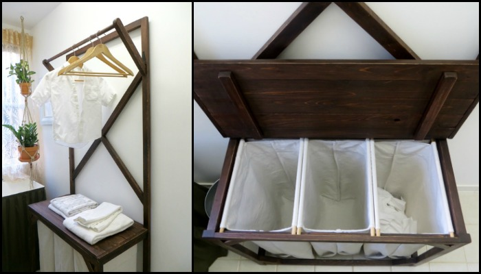 DIY Laundry Hamper with Hanging Rod