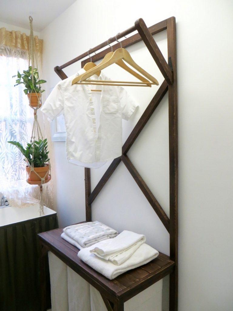 DIY Laundry Hamper with Hanging Rod