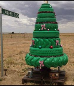 Tire Christmas Tree and Snowman