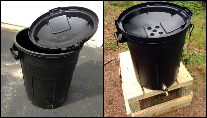 Easy Stand Alone Rain Barrel From A Garbage Can