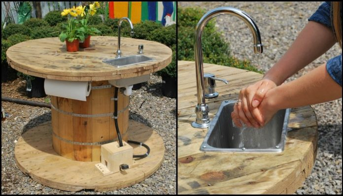 Build your own unique outdoor sink with an old wooden cable spool!