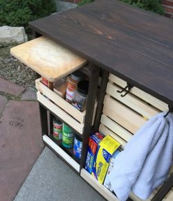 DIY mobile kitchen island with wooden crate storage