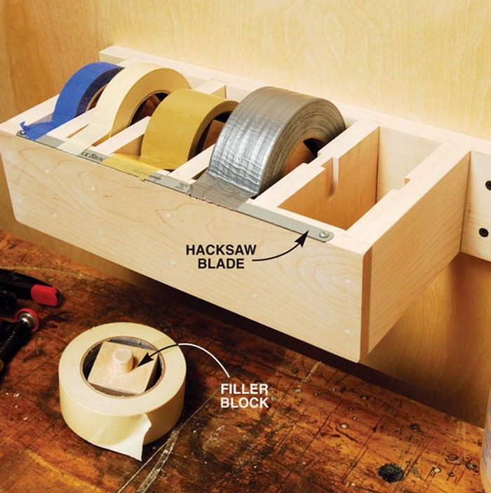 Organize your workshop with this easy DIY multiple roll tape dispenser