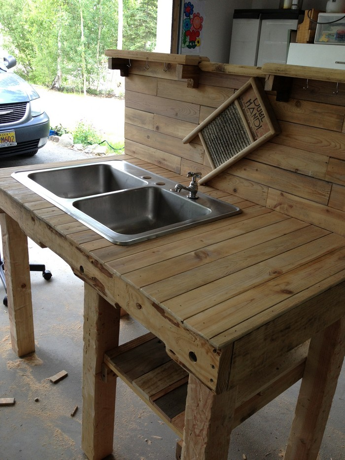 build your own unique outdoor sink with an old wooden On outdoor kitchen sink ideas