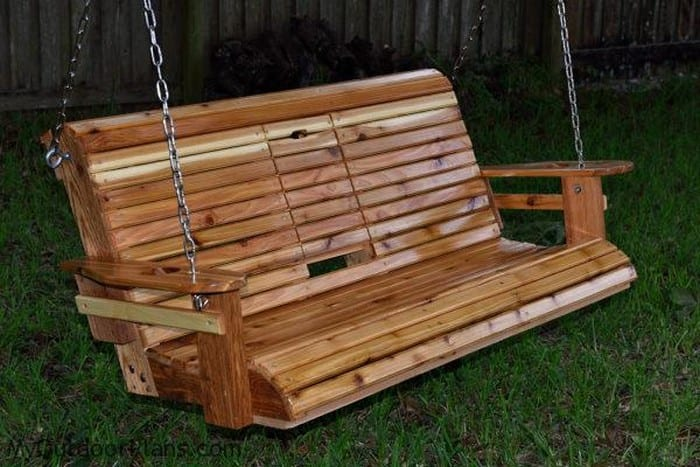 Unwind in your yard with a diy wood porch swing with cup for How to make wooden swing seat