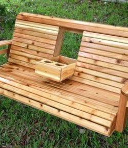 DIY Porch Swing with Cup Holders