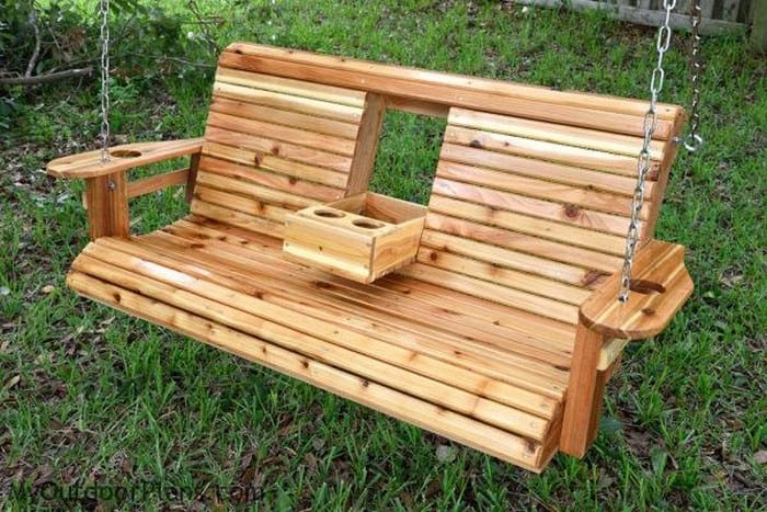Diy Wood Porch Swing With Cup Holders