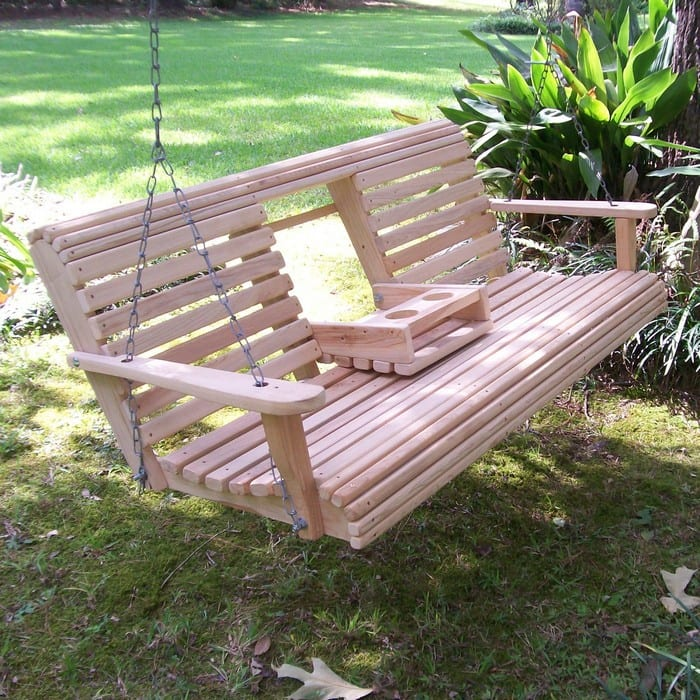 Unwind in your yard with a diy wood porch swing with cup for Cool porch swings