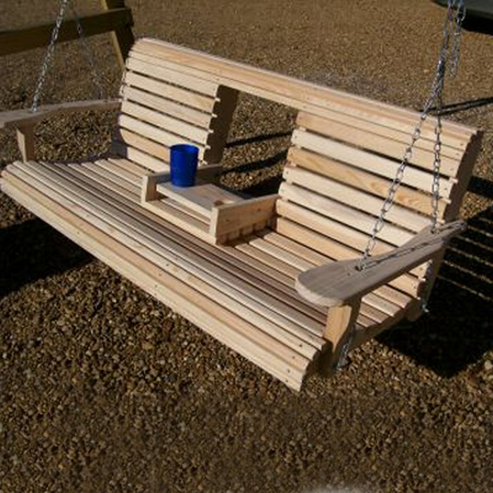 Unwind in your yard with a diy wood porch swing with cup for Build porch swing plans