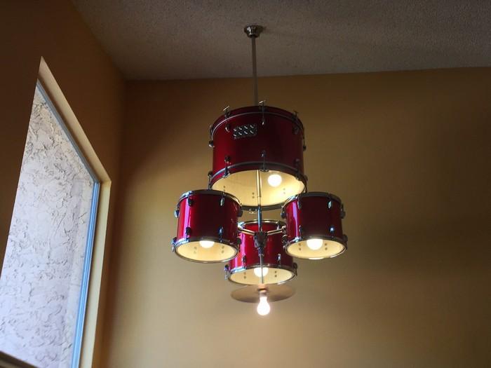 Old drum set turned chandelier