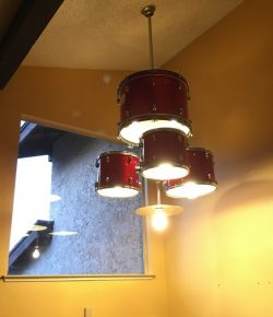 Old drum set turned chandelier