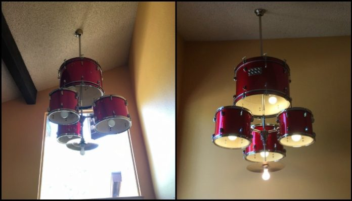 Turn an old drum set into a unique chandelier for your home!
