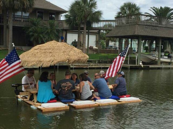 Build an awesome floating picnic table your projects obn for Picnic boat plans
