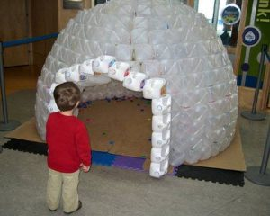 Build a milk jug igloo for the kids!