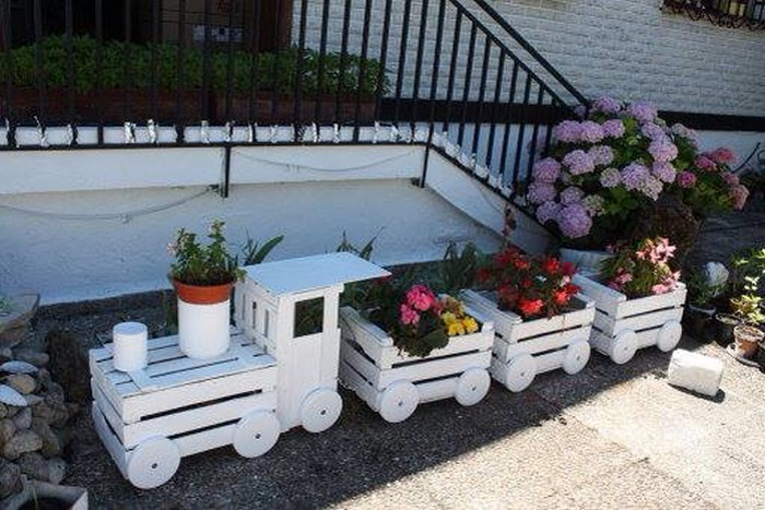 Old Crate Train Planter