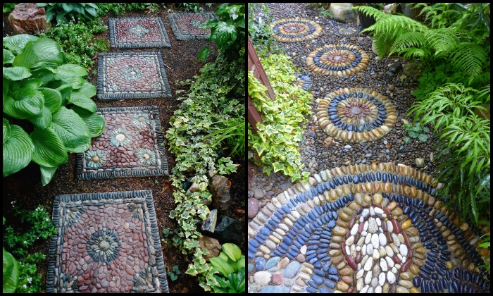 Creating custom pebble mosaic stepping stones for your garden!