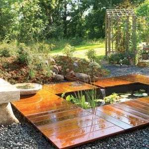 Deck surrounding pond