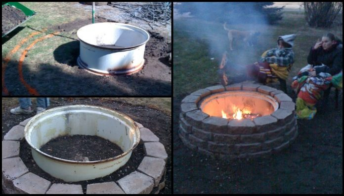 Build a backyard fire pit by upcycling an old tractor tire rim