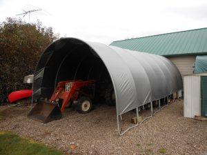 Old trampoline turned shed