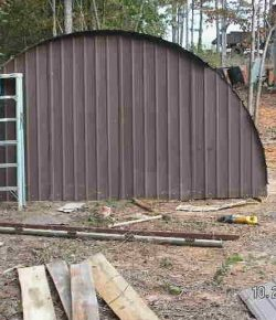 Old trampoline turned shed