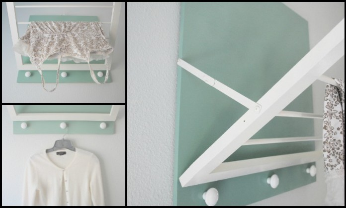Build a space-saving wall mounted drying rack for your laundry