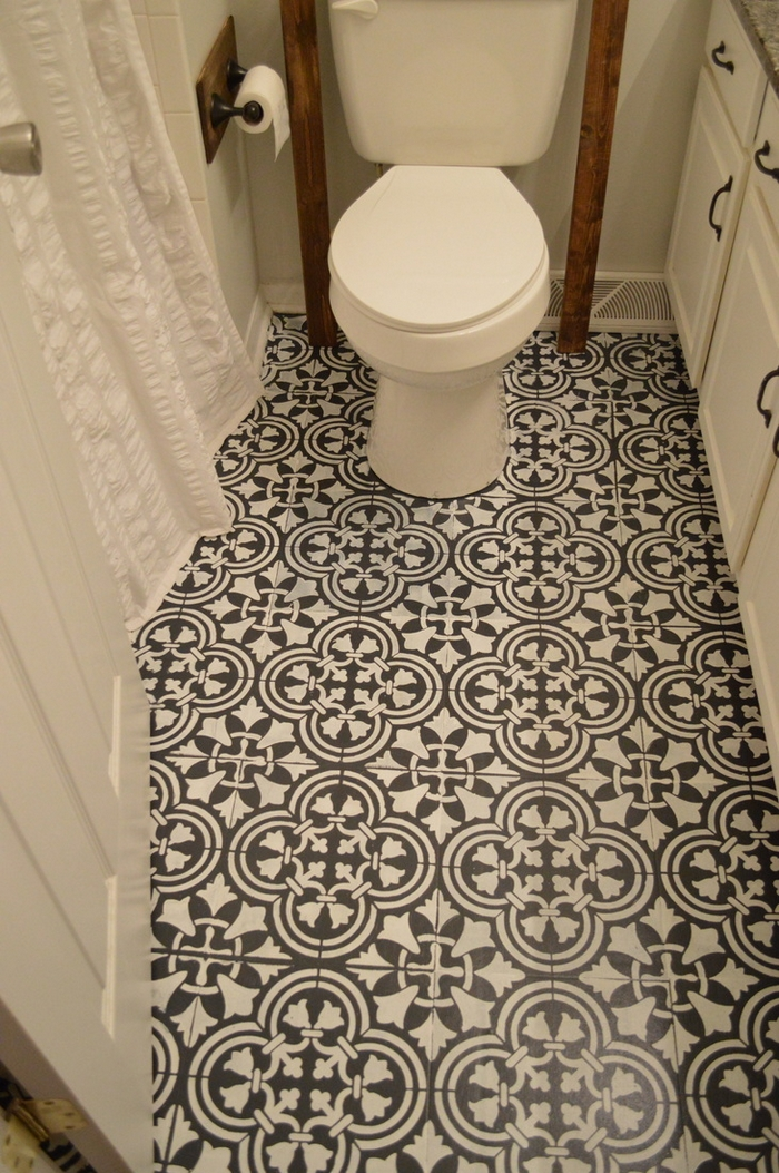 Make your bathroom floor unique with chalk paint your for Unique bathroom floors