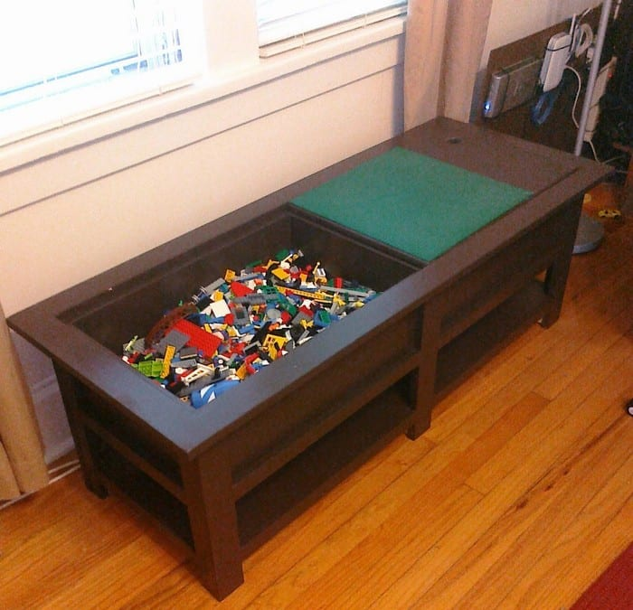 Coffee table with Lego storage