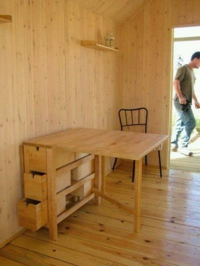 Save space by building your own foldable craft table for Small craft table with storage