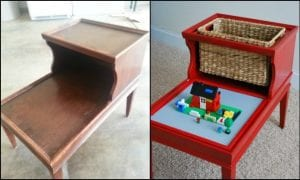 Turn an old piece of furniture into a clever Lego table with storage for the kids!