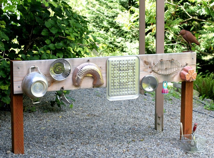 Build your kids an outdoor music wall from recycled materials!