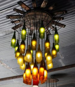 DIY Wine Bottle Chandelier