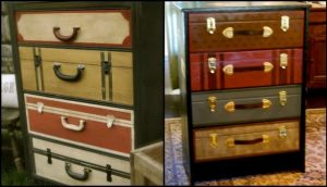 Revamp your old dresser with this faux suitcase painted furniture idea!