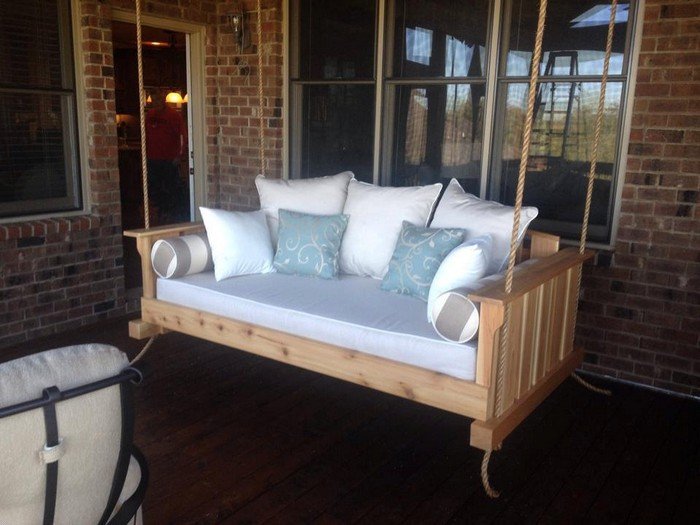 Learn how to build your own hanging day bed swing your for Diy patio bed
