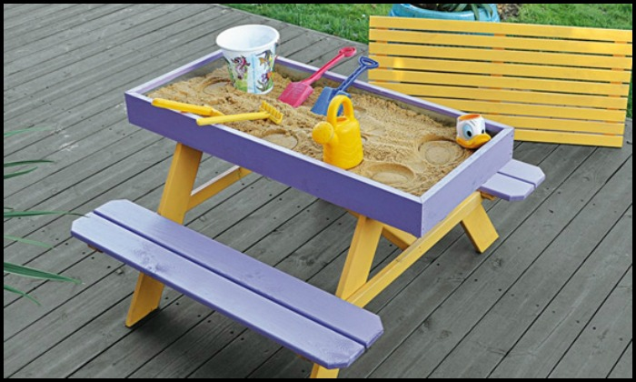 Build your kids a picnic table with sandbox!