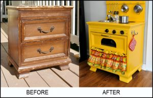 From an old nightstand to an adorable play kitchen!
