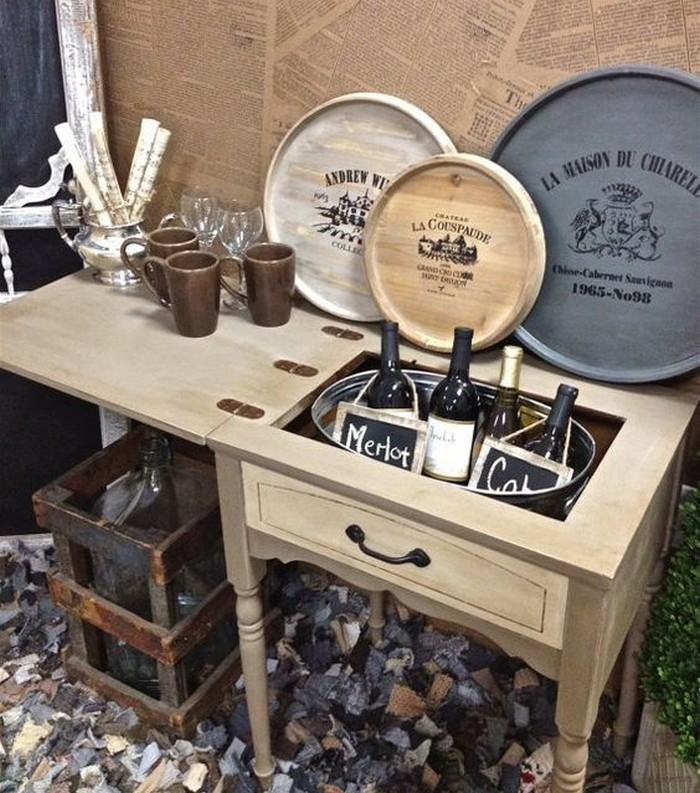 Old sewing table turned drink station