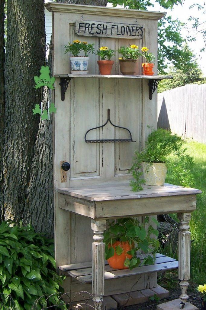 Old Wood Door Potting Bench